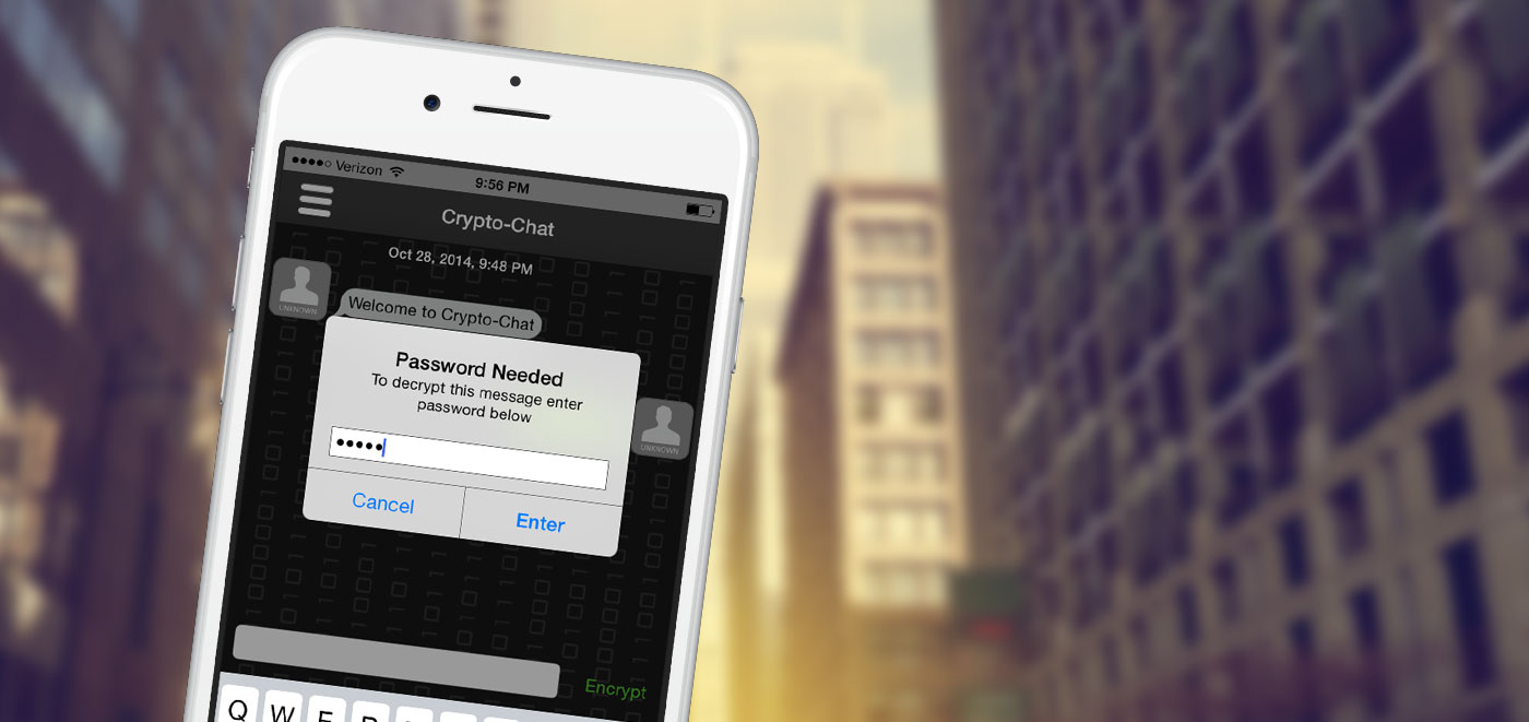 Crypto-Chat App - Type password for decryption